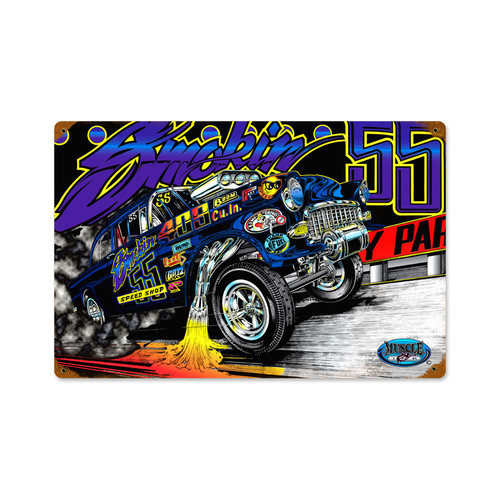 Retro Gasser 55  Metal Sign 18 x 12 Inches