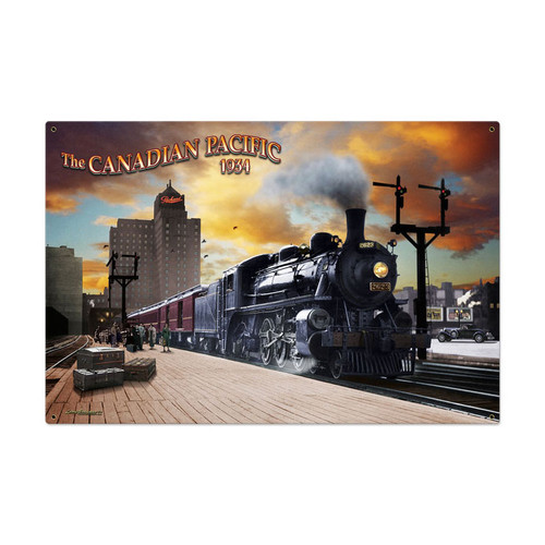 Retro Canadian Pacific Metal Sign 36 x 24 Inches