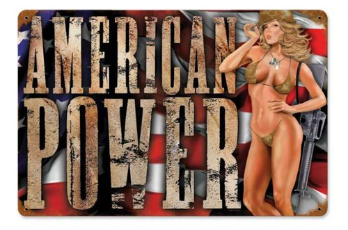 Vintage-Retro American Power - Pin-Up Girl Metal Sign -