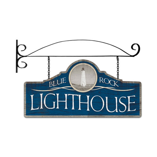 Retro Blue Rock Light House Double Sided  with Wall Mount Sign 26 x 12 Inches