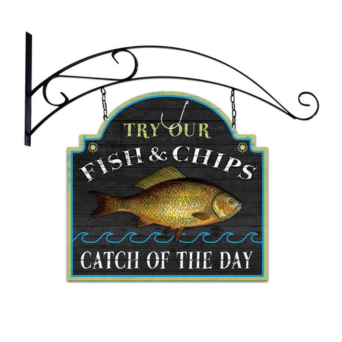 Retro Fish and Chips Double Sided  with Wall Mount Sign 18 x 19 Inches