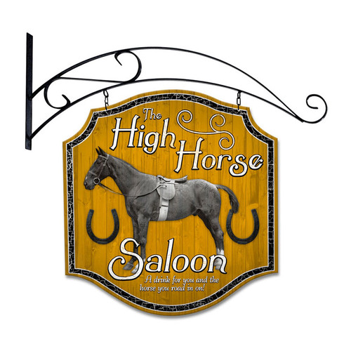 Retro High Horse Tavern Double Sided  with Wall Mount Sign 20 x 20 Inches