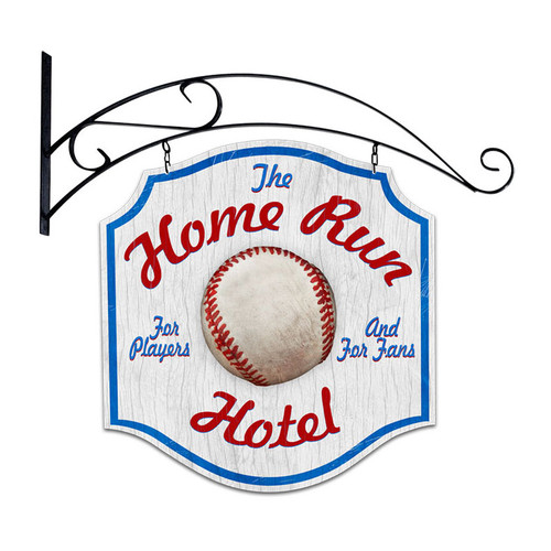 Retro Home Run Hotel Double Sided  with Wall Mount Sign 20 x 20 Inches
