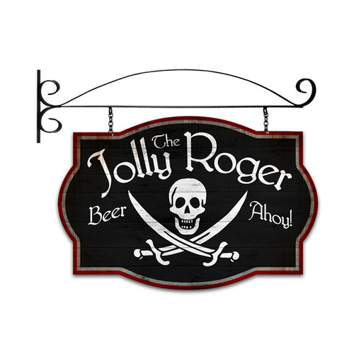 Retro Jolly Roger Tavern Double Sided  with Wall Mount Sign 24 x 16 Inches