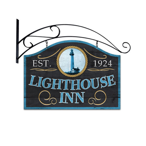 Retro Lighthouse Inn Double Sided  with Wall Mount Sign 23 x 17 Inches