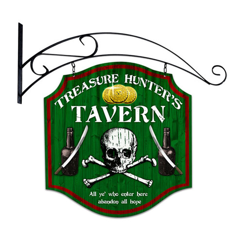 Retro Treasure Hunter Double Sided  with Wall Mount Sign 20 x 20 Inches