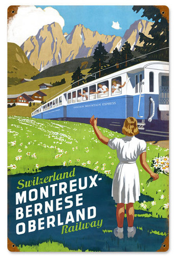 Retro Switzerland Railway  Metal Sign 12 x 18 Inches