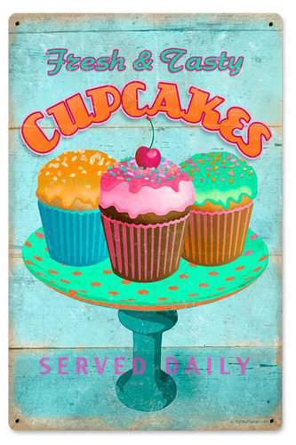 Retro Cupcakes Fresh Metal Sign 12 x 18 Inches