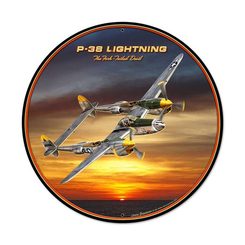 Retro P38 Round Metal Sign 28 x 28 Inches