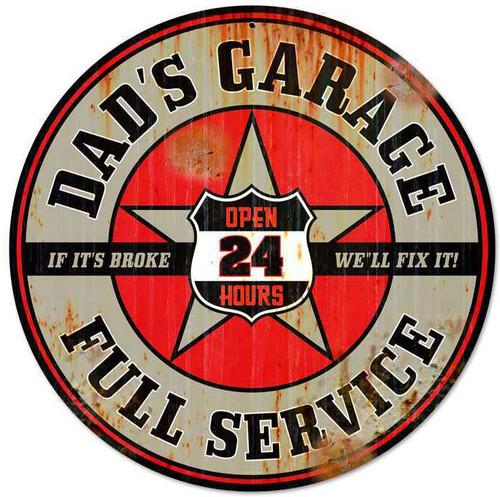 Retro Dads Garage Round Metal Sign 28 x 28 Inches