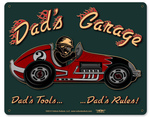 Dad's Garage Racecar Metal Sign 15 x 12 Inches