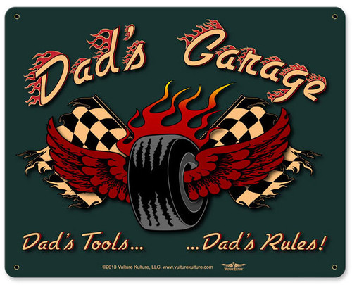 Dad's Garage Tire Metal Sign 15 x 12 Inches
