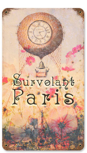 Survolant Paris Vintage Metal Sign   8 x 14 Inches