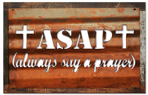 Vintage ASPA Corrugated Rustic Barn Wood Sign 19 x 26 Inches