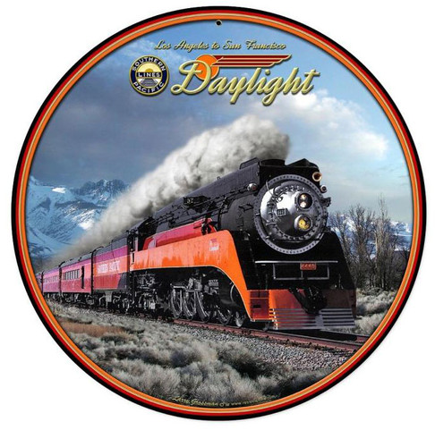 Daylight Winter Train   Round Metal Sign 14 x 14 Inches