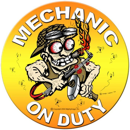 Vintage-Retro Mechanic on Duty Round Metal-Tin Sign
