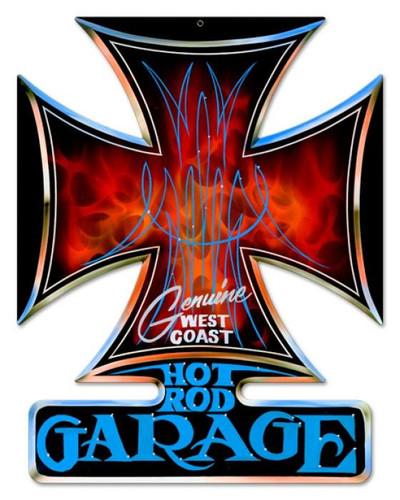 Vintage-Retro Hot Rod Garage Iron Cross Metal-Tin Sign