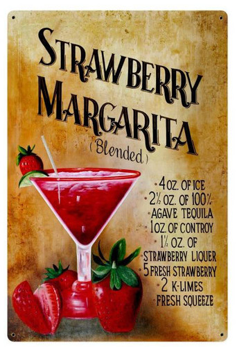 Strawberry Margarita Recipe Metal Sign 24 x 36 Inches