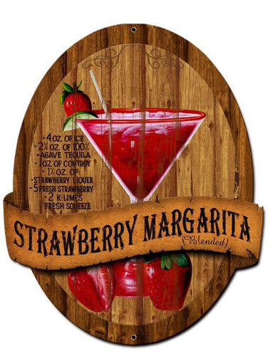 Strawberry Margarita Recipe Custom Shape Metal Sign 20 x 24 Inches