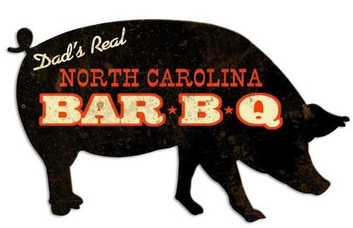North Carolina BBQ Custom Shape Metal Sign 26 x 15 Inches