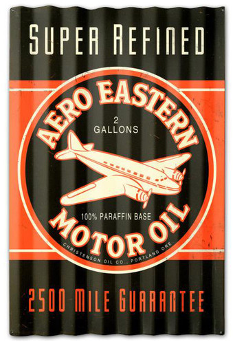 Aero Eastern Motor Oil Corrugated Rustic Barn  Sign 16 x 24 Inches