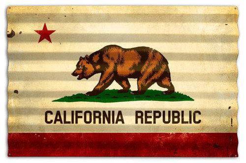 California Flag Corrugated Rustic Barn  Sign 24 x 16 Inches