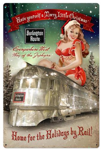 Burlington Christmas Train Metal Sign 24 x 36 Inches