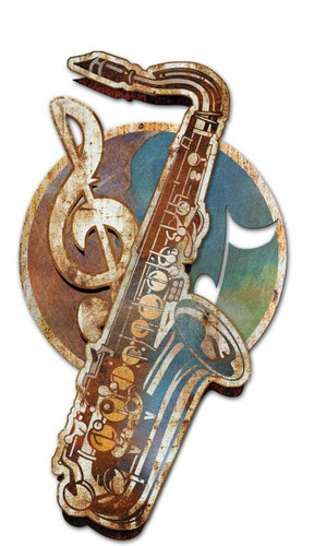 Saxophone 3D Rustic Sign 14 x 24 Inches
