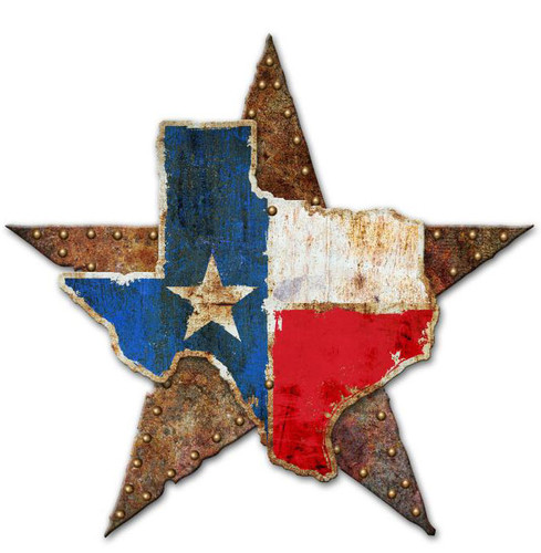 Texas Star 3D Rustic Sign 24 x 24 Inches
