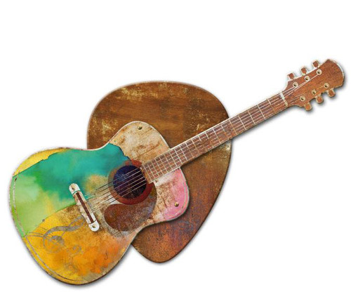 Guitar 3D Rustic Sign 24 x 24 Inches