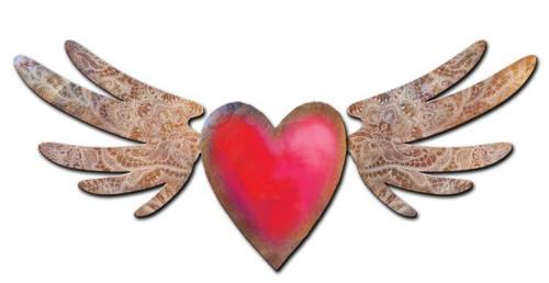 Flying Heart Custom Shape Metal Sign 48 x 20 Inches