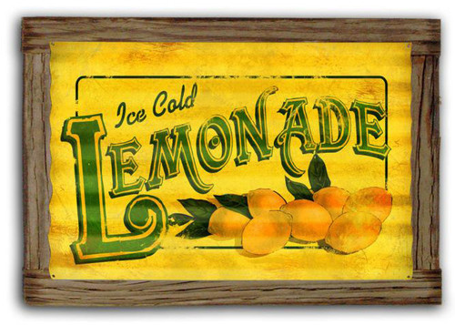 Lemonade  Corrugated Rustic Metal and  Barn Wood Sign 24 x 16 Inches