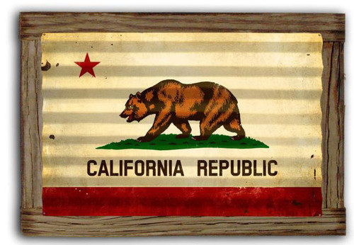 California Flag  Corrugated Rustic Metal and  Barn Wood Sign 24 x 16 Inches