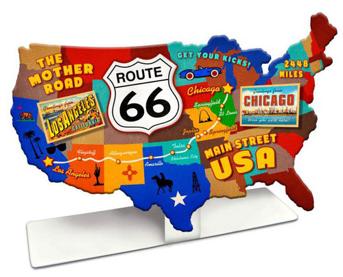 Route 66 USA Road Map  Table Topper 9 x 6 Inches