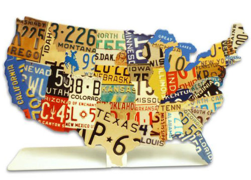 USA License Plate Table Topper 7 x 5 Inches