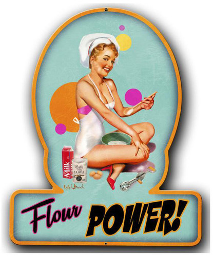 Flour Power Pinup Girl Metal Sign 13 x 16 Inches