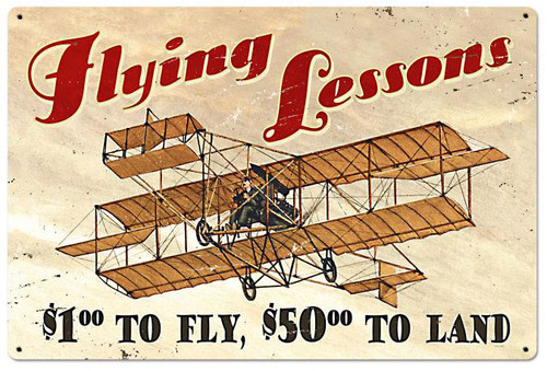 Flying Lessons Vintage Metal Sign 36 x 24 Inches
