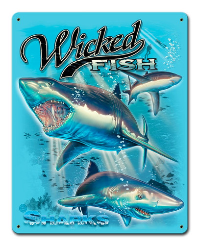 Sharks Wicked Fish Metal Sign 12 x 15 Inches