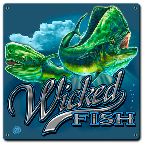 Mahi Mahi Wicked Fish Metal Sign 12 x 12 Inches