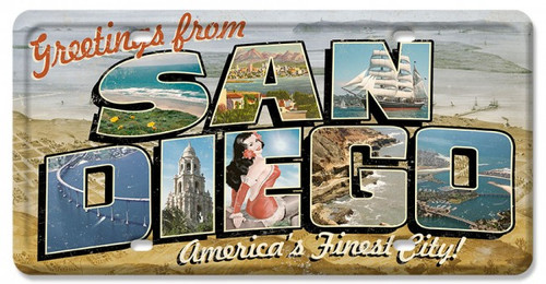 San Diego Postcard License Plate Metal Sign 12 x 6 Inches