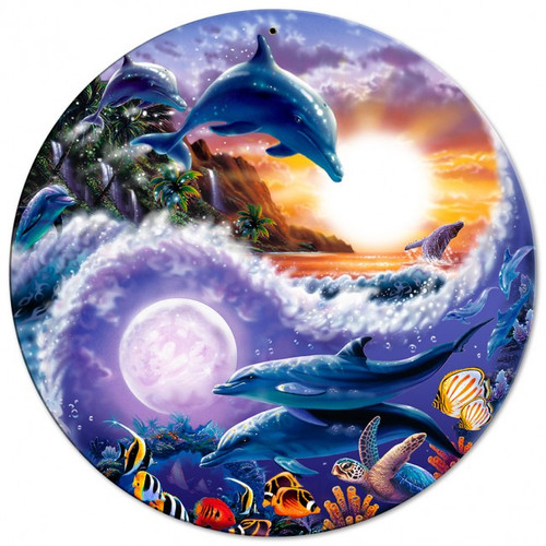 Sun Yin & Yang Dolphins Round Metal Sign Round Metal Sign 14 x 14 Inches
