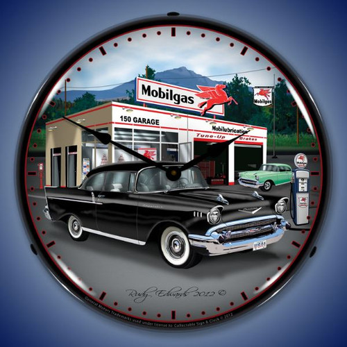 1957 Chevy Mobilgas Lighted Wall Clock 14 x 14 Inches