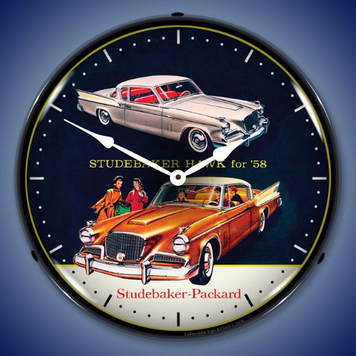 1958 Studebaker Hawk Lighted Wall Clock 14 x 14 Inches