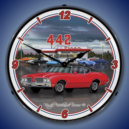1970 442 Oldsmobile Lighted Wall Clock 14 x 14 Inches