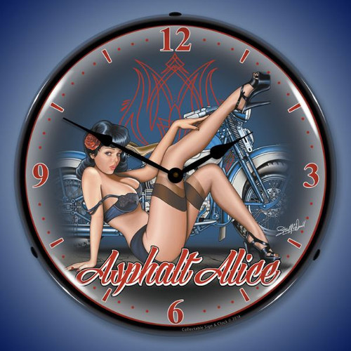 Asphalt Alice Lighted Wall Clock 14 x 14 Inches