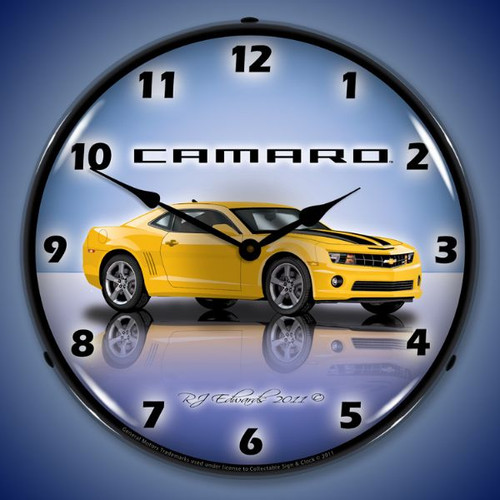 Camaro G5 Rally Yellow Lighted Wall Clock 14 x 14 Inches