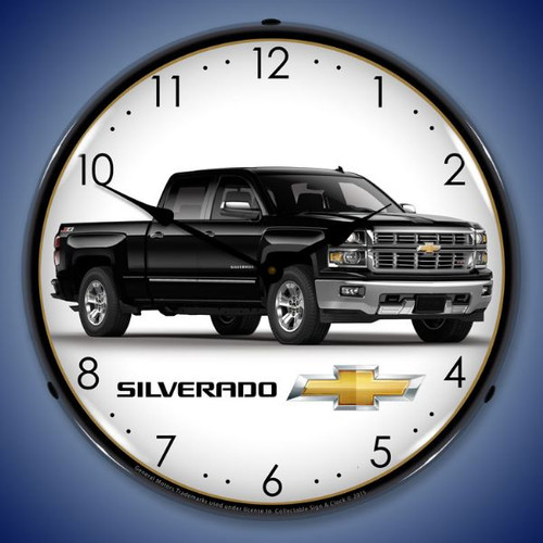 Chevrolet Silverado Black Lighted Wall Clock 14 x 14 Inches