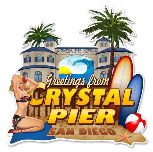 Vintage-Retro Crystal Pier Custom Shape - Pin-Up Girl Metal Sign -