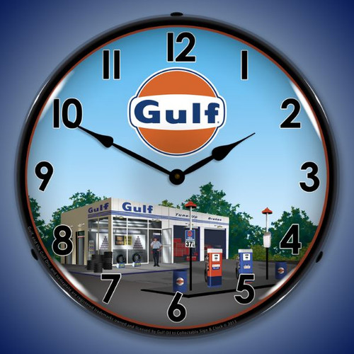 Gulf Station Lighted Wall Clock 14 x 14 Inches