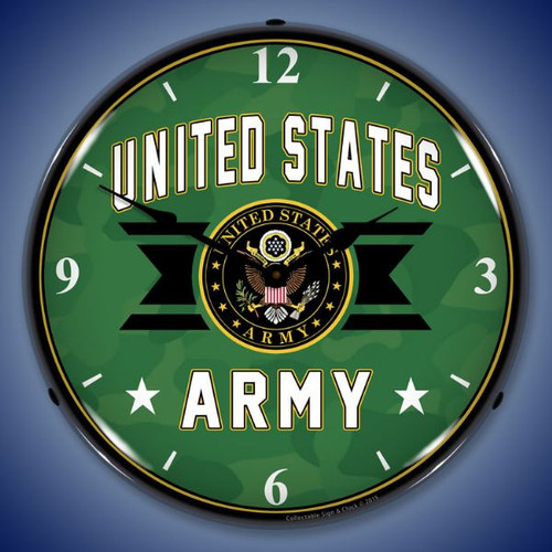 United Stated Army Lighted Wall Clock 14 x 14 Inches